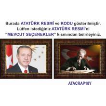 AKP Cumhurbaşkanı Recep Tayyip Erdoğan ve Atatürk Resmi Çerçeveli Resim İkili Set (2 Resim) 45x32-70x50-100x70-150x100cm AKPCR23R2Y