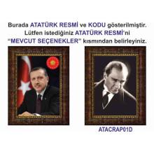 AKP Çerçeveli Cumhurbaşkanı Recep Tayyip Erdoğan ve Atatürk Resmi Tablosu İkili Set Satın Al AKPCR24R2D (İki Resim)
