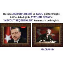 AKP Çerçeveli Cumhurbaşkanı Recep Tayyip Erdoğan ve Atatürk Resmi İkili Set (2 Resim) 45x32 70x50 100x70 150x100 cm AKPCR24R2Y