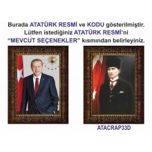 AKP Çerçeveli Cumhurbaşkanı Recep Tayyip Erdoğan ve Atatürk Resmi Tablosu İkili Set Satın Al AKPCR25R2D (İki Resim)