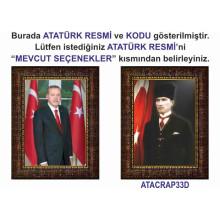 AKP Çerçeveli Cumhurbaşkanı Recep Tayyip Erdoğan ve Atatürk Resmi Tablosu İkili Set Satın Al AKPCR26R2D (İki Resim)