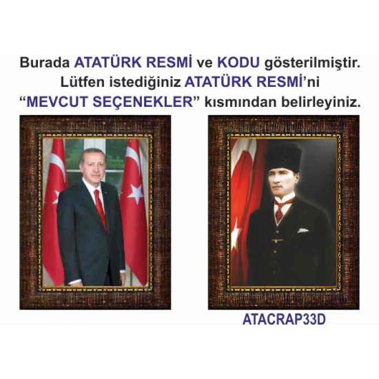 Akp Çerçeveli Resim Cumhurbaşkanı Erdoğan ve Atatürk Resmi İkili Set Akpcr26r2d