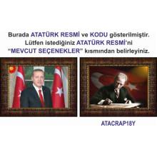AKP Çerçeveli Cumhurbaşkanı Recep Tayyip Erdoğan ve Atatürk Resmi Tablosu İkili Set Satın Al AKPCR26R2Y (İki Resim)