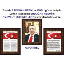AKP Cumhurbaşkanı Recep Tayyip Erdoğan ve İstiklal Marşı ve Gençliğe Hitabe Resmi Çerçeveli Resim Üçlü Set (3 resim) AKPCR31R3DY