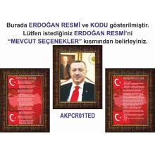 AKP Cumhurbaşkanı Recep Tayyip Erdoğan ve İstiklal Marşı ve Gençliğe Hitabe Resmi Çerçeveli Resim Üçlü Set (3 resim) AKPCR32R3DY