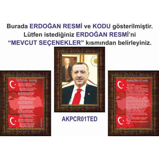 Akp Çerçeveli Resim Erdoğan ve İstiklal Marşı ve Gençliğe Hitabe Resmi Üçlü Set Akpcr42r3dy