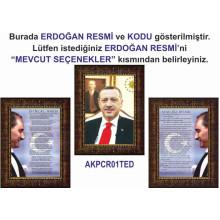 Akp Çerçeveli Resim Cumhurbaşkanı Recep Tayyip Erdoğan ve İstiklal Marşı ve Gençliğe Hitabe Resmi Üçlü Set Akpcr33r3dy