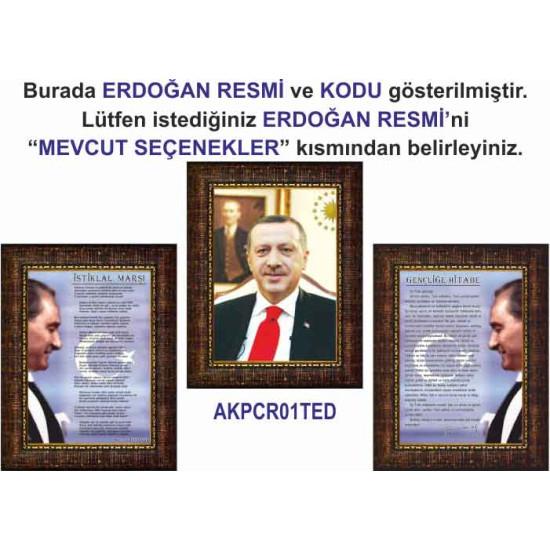 Akp Çerçeveli Resim Erdoğan ve İstiklal Marşı ve Gençliğe Hitabe Resmi Üçlü Set Akpcr43r3dy