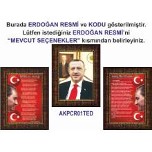 Akp Çerçeveli Resim Cumhurbaşkanı Recep Tayyip Erdoğan ve İstiklal Marşı ve Gençliğe Hitabe Resmi Üçlü Set Akpcr34r3dy