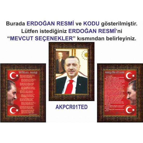 Akp Çerçeveli Resim Erdoğan ve İstiklal Marşı ve Gençliğe Hitabe Resmi Üçlü Set Akpcr44r3dy