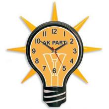 AKP Ampul Şeklinde Ak Parti Logolu Ampul Duvar Saati 39x43cm AKPDSA01NAK