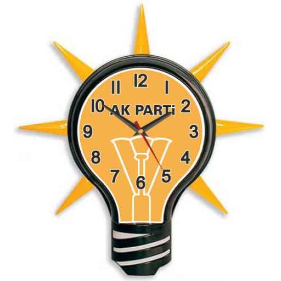 Akp Ampul Duvar Saati Ak Parti Logosu Resimli Ampul Şeklinde Saat 39x43cm Akpdsa01nak