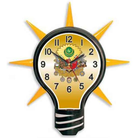 Akp Ampul Duvar Saati Osmanlı Arması Resimli Ampul Şeklinde Duvar Saati 39x43cm Akpdsa02noa