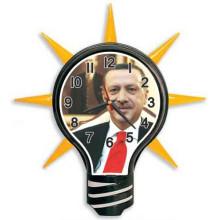 AKP Ampul Şeklinde Cumhurbaşkanı Recep Tayyip Erdoğan Resimli Ampul Duvar Saati AKPDSA05NTE