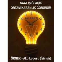 AKP Ampul Şeklinde Gerçek Işık Veren Işıklı Ampul Duvar Saati AKPDSA06XNX (ışıklı)