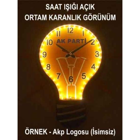 Akp Ampul Duvar Saati Gece Gerçek Işık Veren Işıklı Ampul Şeklinde Duvar Saati 39x43cm Akpdsa06xnx