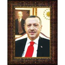 AKP Çerçeveli Resim Cumhurbaşkanı Recep Tayyip Erdoğan Portresi AKPCR01TED