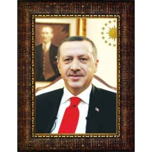 AKP Çerçeveli Cumhurbaşkanı Recep Tayyip Erdoğan Resmi 32x45 50x70 70x100 100x150 cm AKPCR01TED