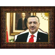 AKP Çerçeveli Resim Cumhurbaşkanı Recep Tayyip Erdoğan Portresi AKPCR01TEY