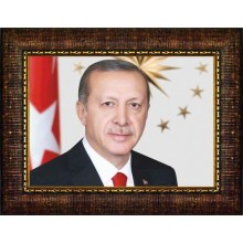 AKP Çerçeveli Cumhurbaşkanı Recep Tayyip Erdoğan Resmi 45x32 70x50 100x70 150x100 cm AKPCR03TEY