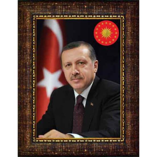 Akp Çerçeveli Resim Cumhurbaşkanı Recep Tayyip Erdoğan Resmi Akpcr04ted