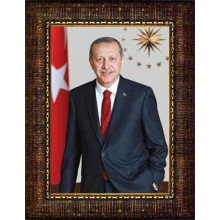 AKP Çerçeveli Cumhurbaşkanı Recep Tayyip Erdoğan Resmi 32x45 50x70 70x100 100x150 cm AKPCR05TED