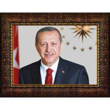AKP Çerçeveli Cumhurbaşkanı Recep Tayyip Erdoğan Resmi 45x32 70x50 100x70 150x100 cm AKPCR05TEY