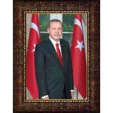 AKP Çerçeveli Cumhurbaşkanı Recep Tayyip Erdoğan Resmi 32x45 50x70 70x100 100x150 cm AKPCR06TED