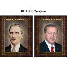 AKP Cumhurbaşkanı Recep Tayyip Erdoğan ve Atatürk Resmi Çerçeveli Resim İkili Set (2 Resim) 32x45-50x70-70x100-100x150cm AKPCR27R2D