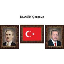 AKP Cumhurbaşkanı Recep Tayyip Erdoğan ve Atatürk ve Türk Bayrağı Resmi Çerçeveli Resim Üçlü Set (3 resim) 32x45-50x70-70x100-100x150cm AKPCR47R3DY
