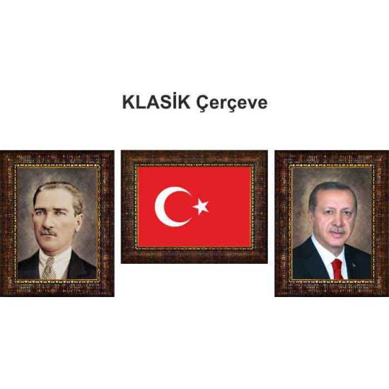 Akp Çerçeveli Resim Erdoğan ve Atatürk ve Türk Bayrağı Resmi Üçlü Set Akpcr37r3dy
