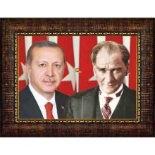 AKP Çerçeveli Cumhurbaşkanı Recep Tayyip Erdoğan ve Atatürk Yanyana Resmi 45x32 70x50 100x70 150x100 cm AKPCR61TAY