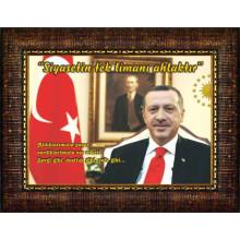 AKP Cumhurbaşkanı Recep Tayyip Erdoğan ve Siyasetle İlgili Sözü Resmi Çerçeveli Resim AKPCR62TESY