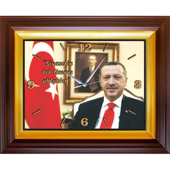 Akp Dikdörtgen Duvar Saati Erdoğan Resimli ve Erdoğanın Siyasetle İlgili Sözü Yazılı Saat 46x37cm Akpdsd51tesy