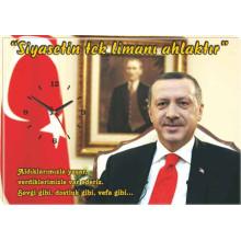 AKP Cumhurbaşkanı Recep Tayyip Erdoğan ve Sözü Resimli Tuval Kanvas Tablo Duvar Saati AKPDST01TESY