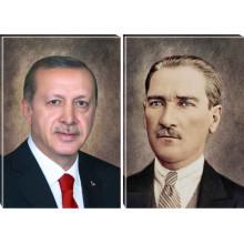 AKP Kanvas Tablo Cumhurbaşkanı Recep Tayyip Erdoğan ve Atatürk Portresi İkili Set (2 Resim) AKPTR27R2D