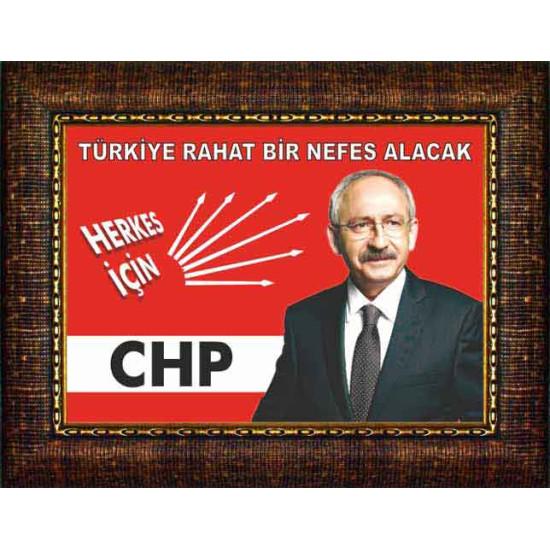 Chp Çerçeveli Resim Kemal Kılıçdaroğlu ve Türkiye ile İlgili Sözü Yazılı Resim Chpcr01kky