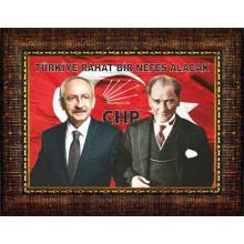 CHP Çerçeveli Kemal Kılıçdaroğlu ve Atatürk Yanyana ve Sözü Resmi 45x32 70x50 100x70 150x100 cm CHPCR02KAY