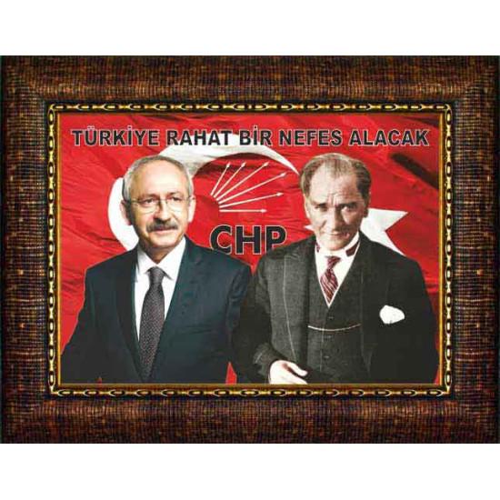 Chp Çerçeveli Resim Kemal Kılıçdaroğlu, Atatürk Yanyana ve Türkiye ile İlgili Sözü Yazılı Resim Chpcr02kay