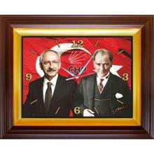 CHP Dikdörtgen Duvar Saati Kemal Kılıçdaroğlu ve Atatürk Yanyana Resimli 46x37cm CHPDSD02KAY