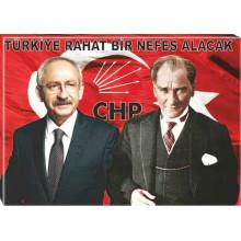 CHP Kanvas Kemal Kılıçdaroğlu ve Atatürk Yanyana ve Sözü Tablosu 45x32 70x50 100x70 150x100 cm CHPTR02KAY