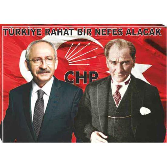 Chp Kanvas Tablo Kemal Kılıçdaroğlu, Atatürk Yanyana Tablosu ve Kılıçdaroğlunun Türkiye ile İlgili Sözü Yazılı Tablo Chptr02kay
