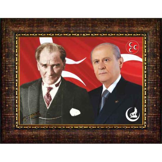 Mhp Çerçeveli Resim Devlet Bahçeli ve Atatürk Yanyana Resmi Mhpcr02bay