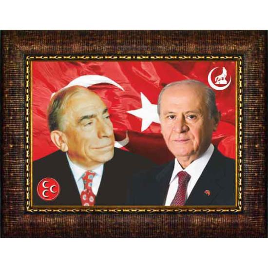 Mhp Çerçeveli Resim Devlet Bahçeli ve Alparslan Türkeş Yanyana Resmi Mhpcr03bty
