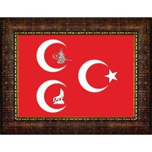MHP Bozkurt-Tuğra-Yıldızlı Üç Hilal Resmi Çerçeveli Resim 45x32-70x50-100x70-150x100cm MHPCR12USY