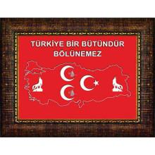 MHP Bozkurt-Tuğra-Yıldızlı ve Türkiye Haritalı Üç Hilal Türkiye Bölünemez Resmi Çerçeveli Resim 45x32-70x50-100x70-150x100cm MHPCR13UTY