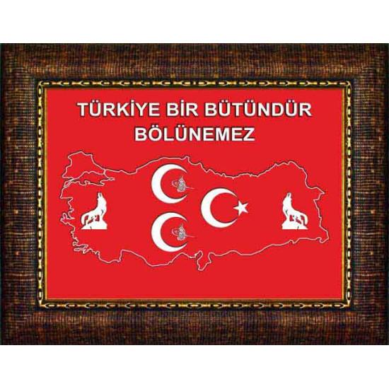 Mhp Çerçeveli Resim Bozkurt, Tuğra, Yıldızlı, Türkiye Haritalı Üç Hilal Resmi ve Türkiye Bölünemez Yazılı Resim Mhpcr13utsy