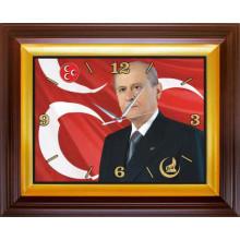 MHP Devlet Bahçeli Resimli Dikdörtgen Duvar Saati MHPDSD01DBY