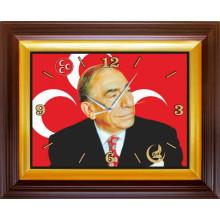 MHP Alparslan Türkeş Resimli Dikdörtgen Duvar Saati MHPDSD02ATY