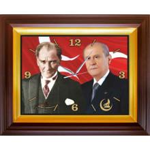 MHP Devlet Bahçeli ve Atatürk Yanyana Resimli Dikdörtgen Duvar Saati MHPDSD03BAY